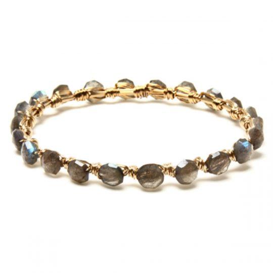 Labradorite Oval Stone Gold WW Bracelet B2G