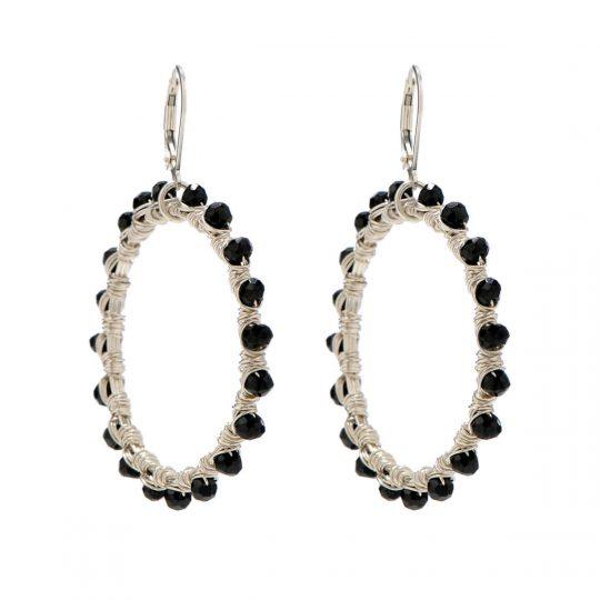 Black Spinel Silver WW Earrings E1S