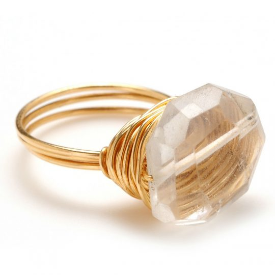 Clear Quartz and Gold Ring R1G