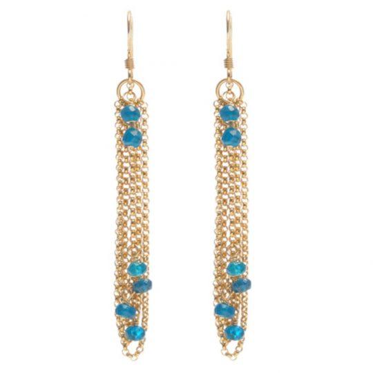 Dark Blue Apatite and Gold Chain Earrings E6