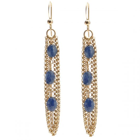 Blue Sapphire and Gold Chain Earrings E5