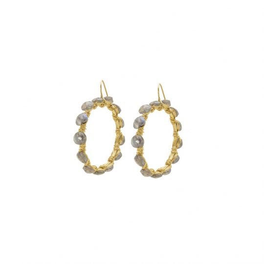 Labradorite gold hoop earrings handmade with gemstones
