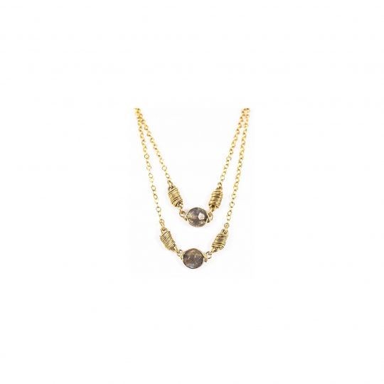 Double gold necklace handmade with labradorite