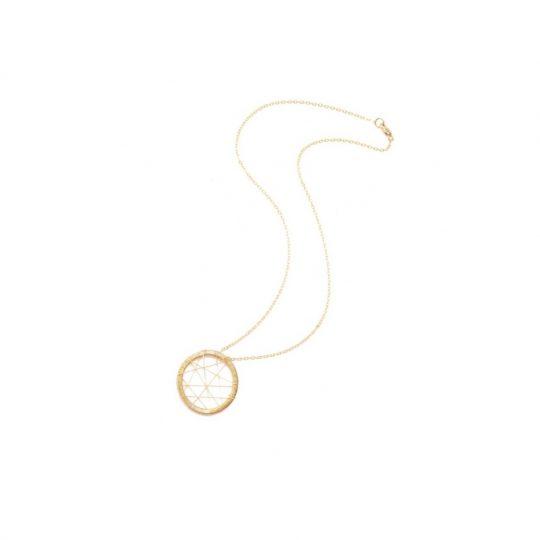 Gold Circle handmade dream catcher star necklace