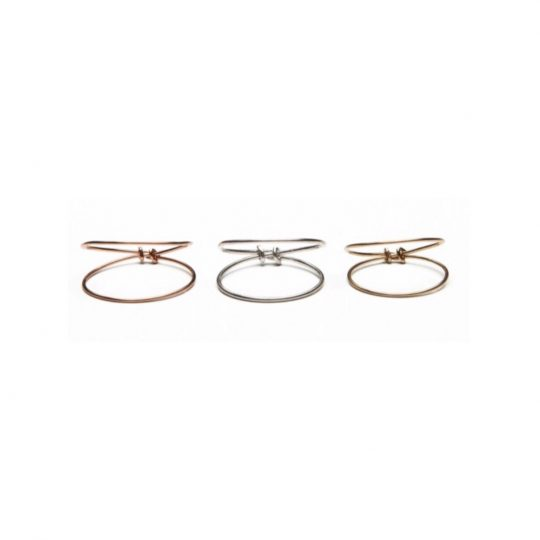 double band thin gold and silver rings