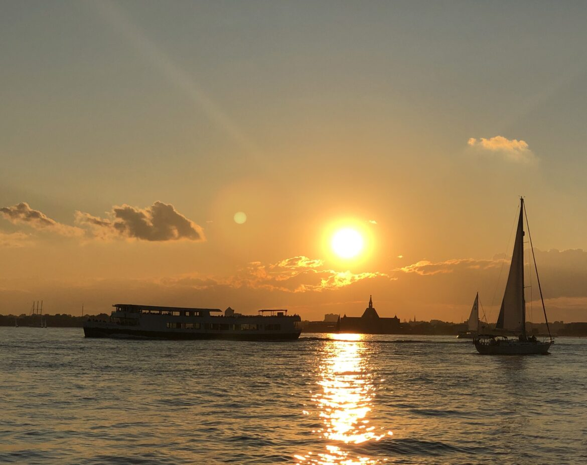 NYC sunset and sailboats